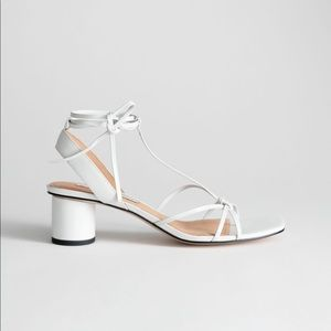 & other stories white heeled lace sandals